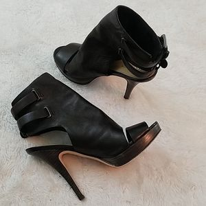 Coach Analeigh Sz 5.5 Black Leather Ankle Booties